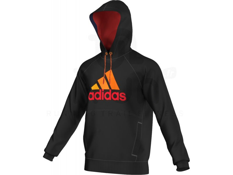 adidas sweat capuche essential logo 2 m pas cher v tements homme running training en promo. Black Bedroom Furniture Sets. Home Design Ideas