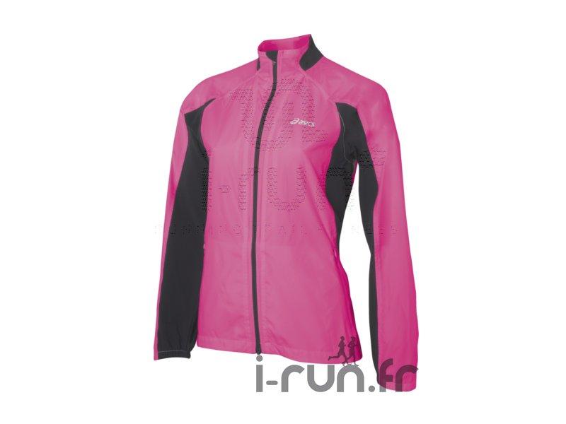 Asics Coupe vent running rose et noir M - Vêtements femme running Vestes / coupes vent Asics ...