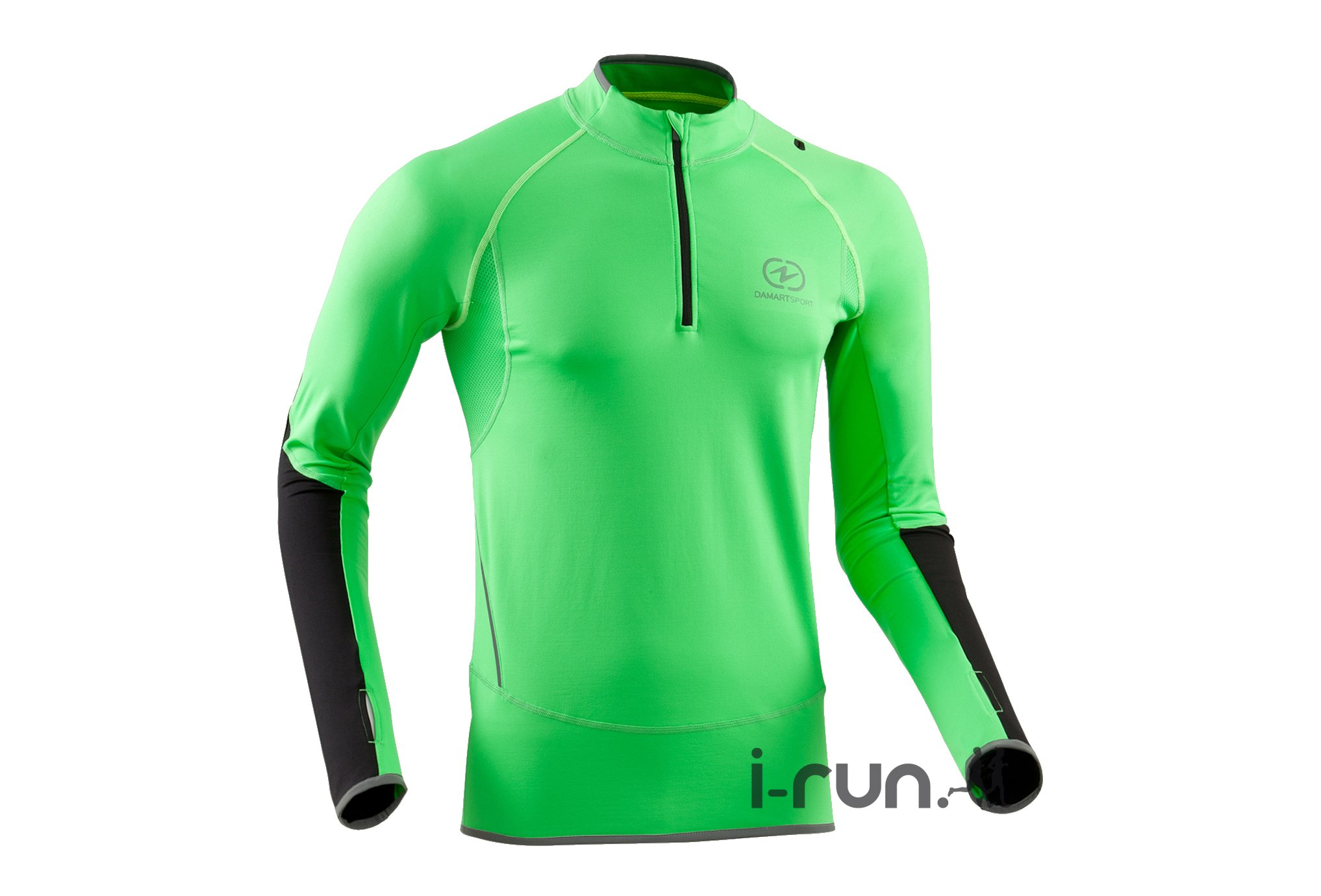damart sport maillot 1 2 zip running m v tement running homme r f 33786 vert vif running track. Black Bedroom Furniture Sets. Home Design Ideas