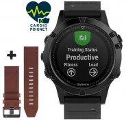 Garmin Pack Fenix 5 Sapphire GPS Multisports + Bracelet cuir QuickFit