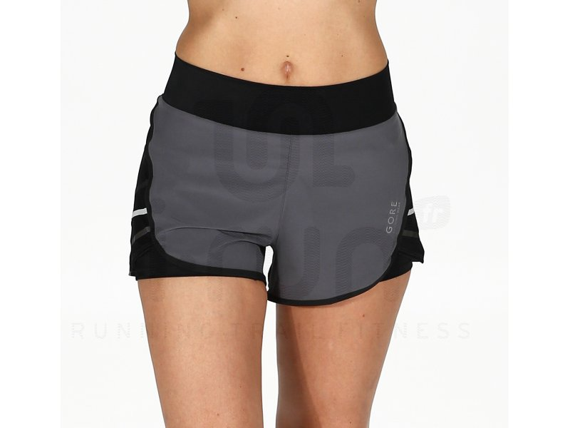 gore running wear short mythos 2 en 1 w pas cher v tements femme running shorts cuissards. Black Bedroom Furniture Sets. Home Design Ideas