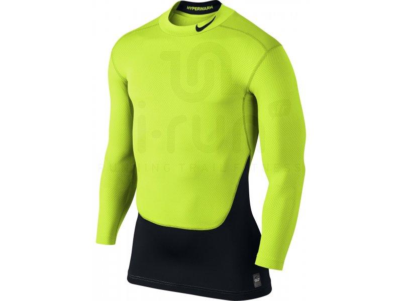 Nike Pro Hyperwarm Manches Longues Mock Noir