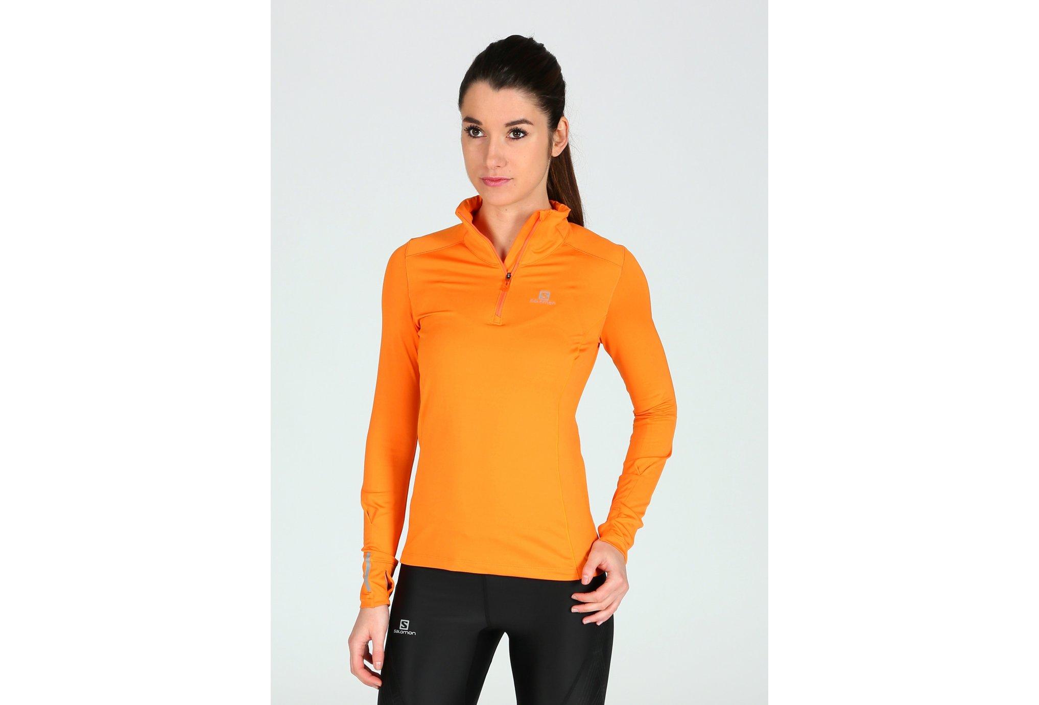 Salomon Maillot Agile 1/2 Zip Mid W vêtement running femme