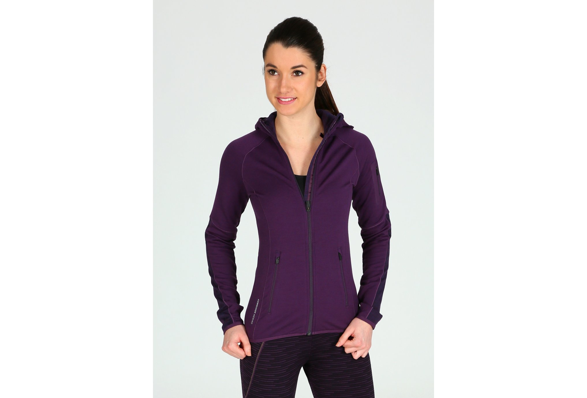 Icebreaker atom zip hood w vêtement running femme