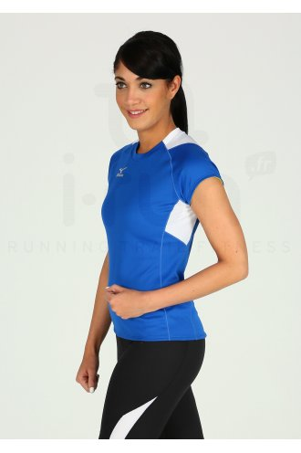 d009eb66d3f Mizuno Tee-Shirt Trad W femme Bleu pas cher