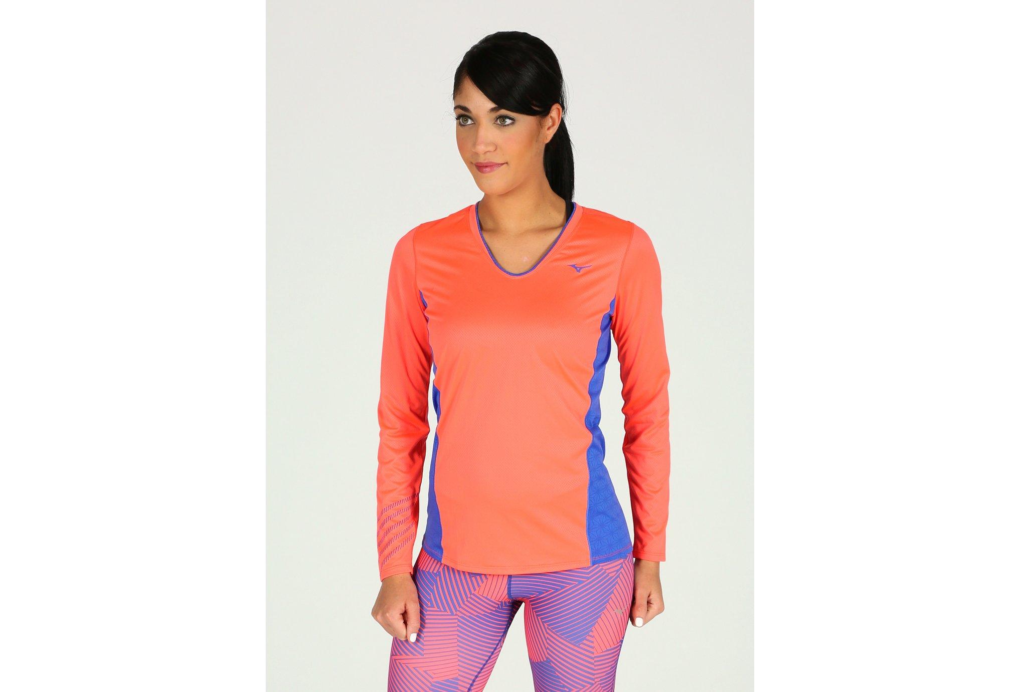 Mizuno Tee-shirt Breath Thermo Virtual Body G1 1 2 zip W vêtement running e4d4d78045a