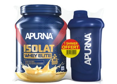 Apurna Isolat Whey Elite 750 g - Vanille + 1 Shaker Offert
