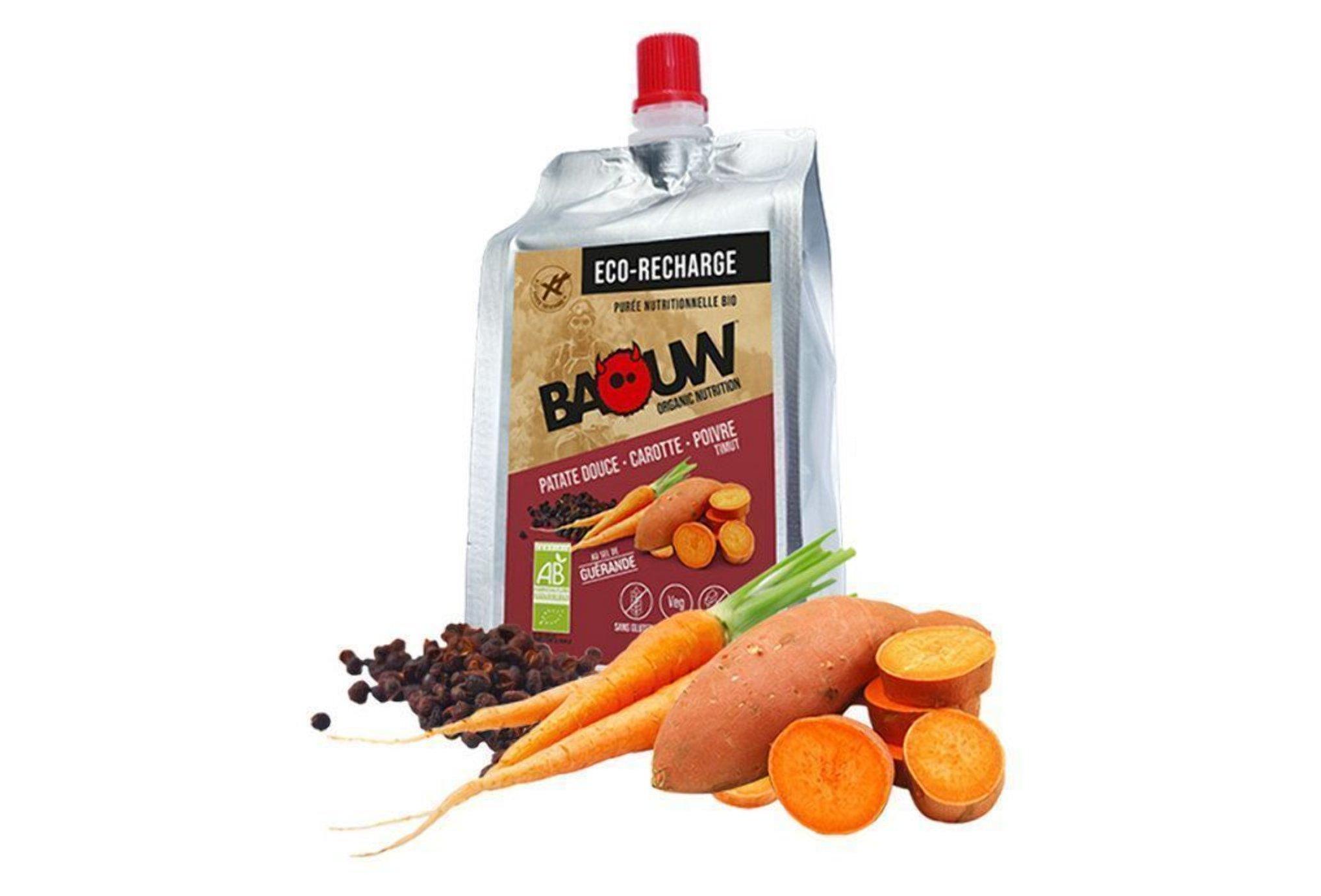 Baouw Eco recharge XXL purée nutritionnelle bio - Patate douce - Carotte - Poivre Timut Diététique Gels