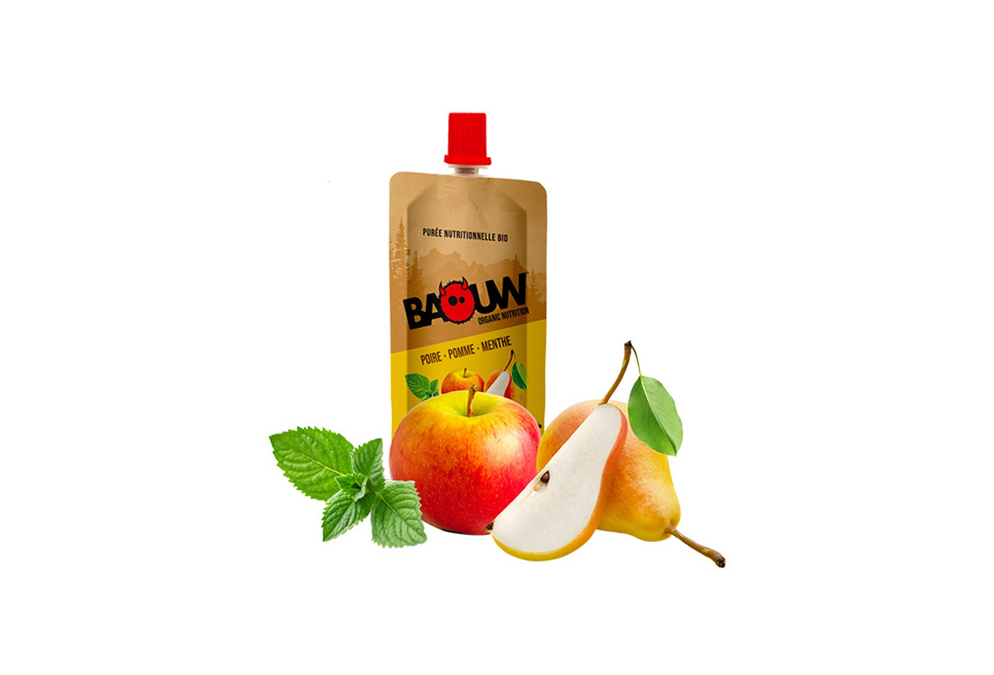 Baouw Purée nutritionnelle bio - Poire - Pomme - Menthe Diététique Gels