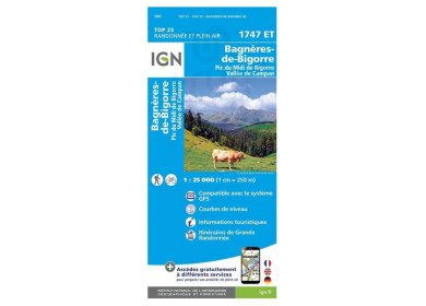Carte IGN Bagnères-de-Bigorre 1747ET