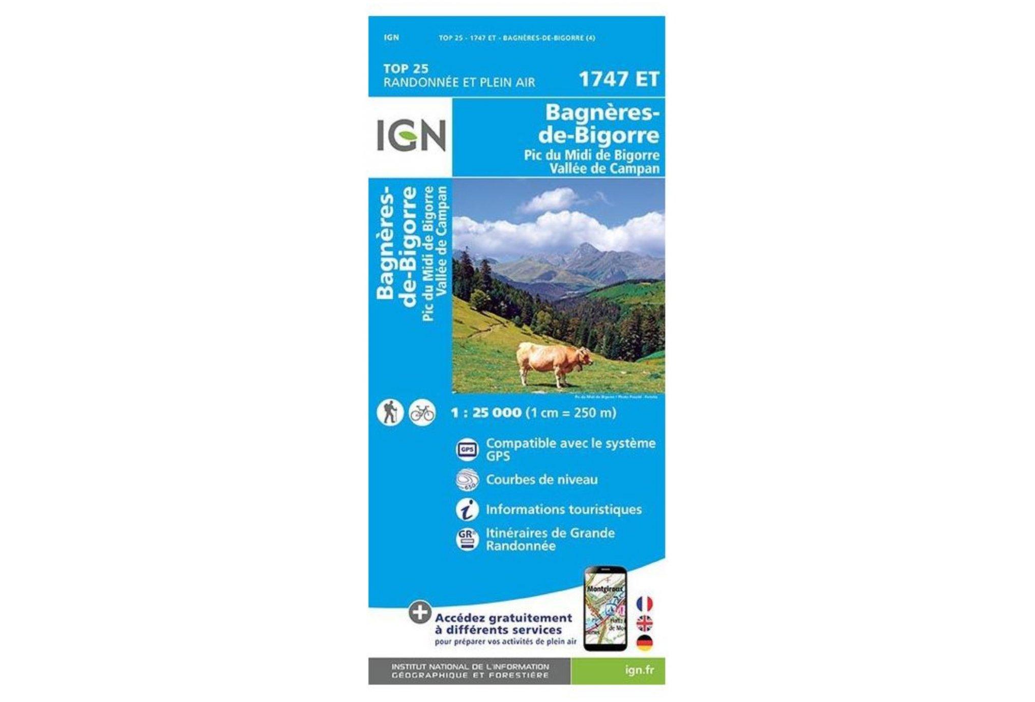 Carte IGN Bagnères-de-Bigorre 1747ET Cartes