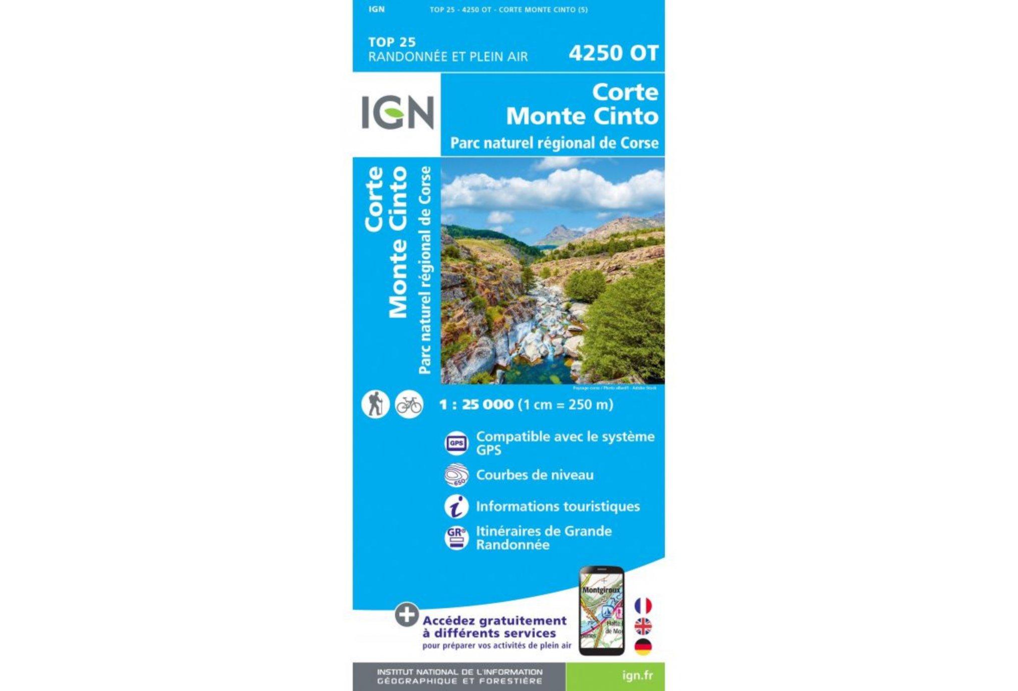 Carte IGN Corte Monte Cinto 4250OT Cartes