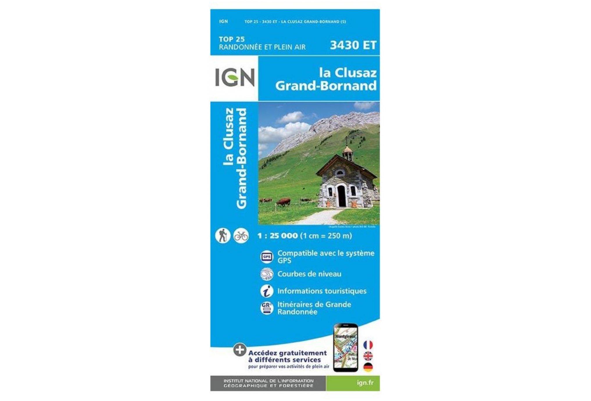 Carte IGN La Clusaz Le Grand-Bornand 3430ET Cartes