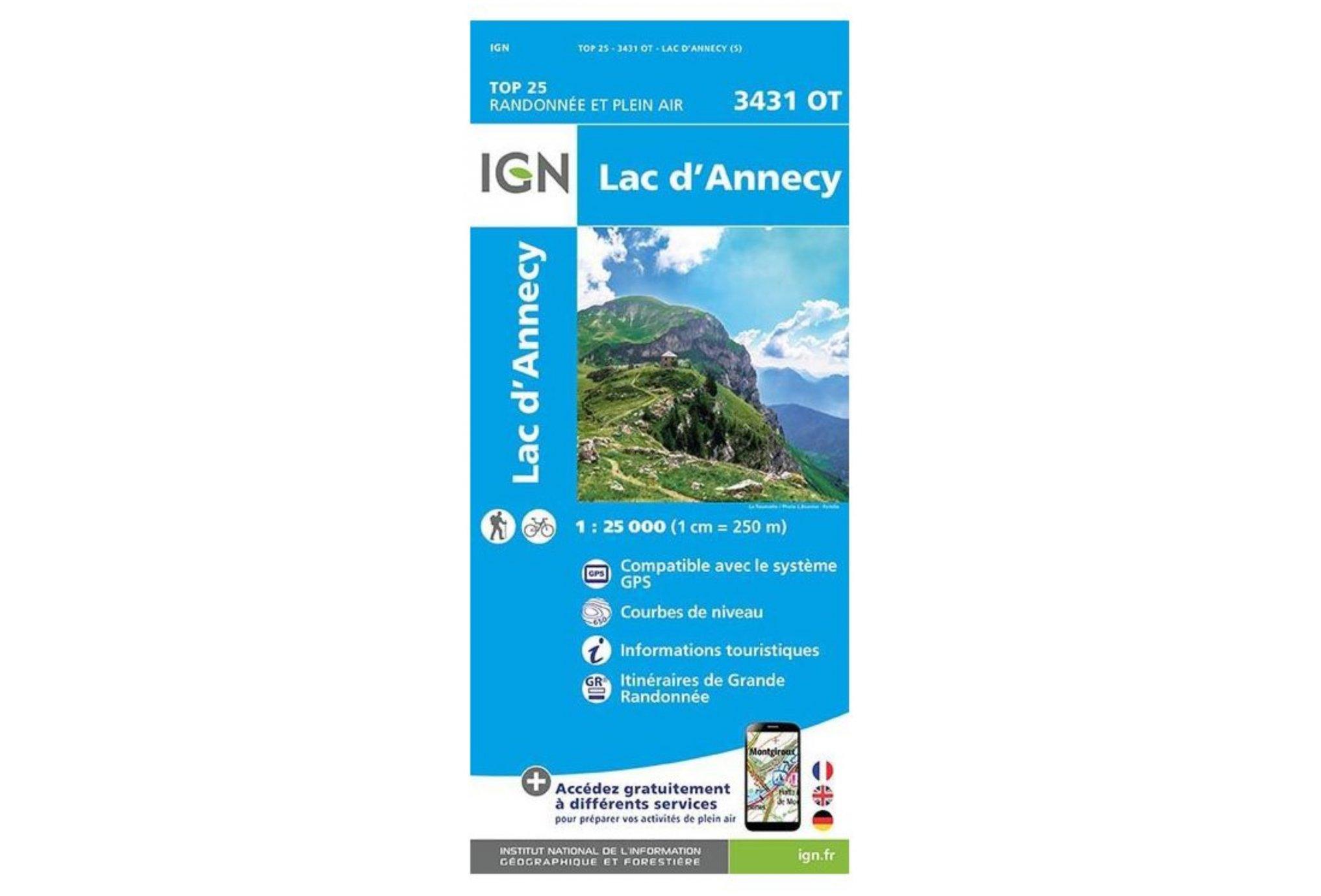 Carte IGN Lac d'Annecy 3431OT Cartes