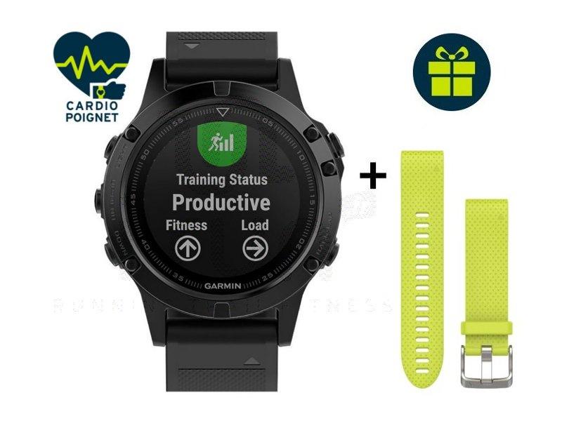 Garmin Fenix 5 GPS Multisport Sapphire + Bracelet QuickFit - Electronique Cardio-Gps