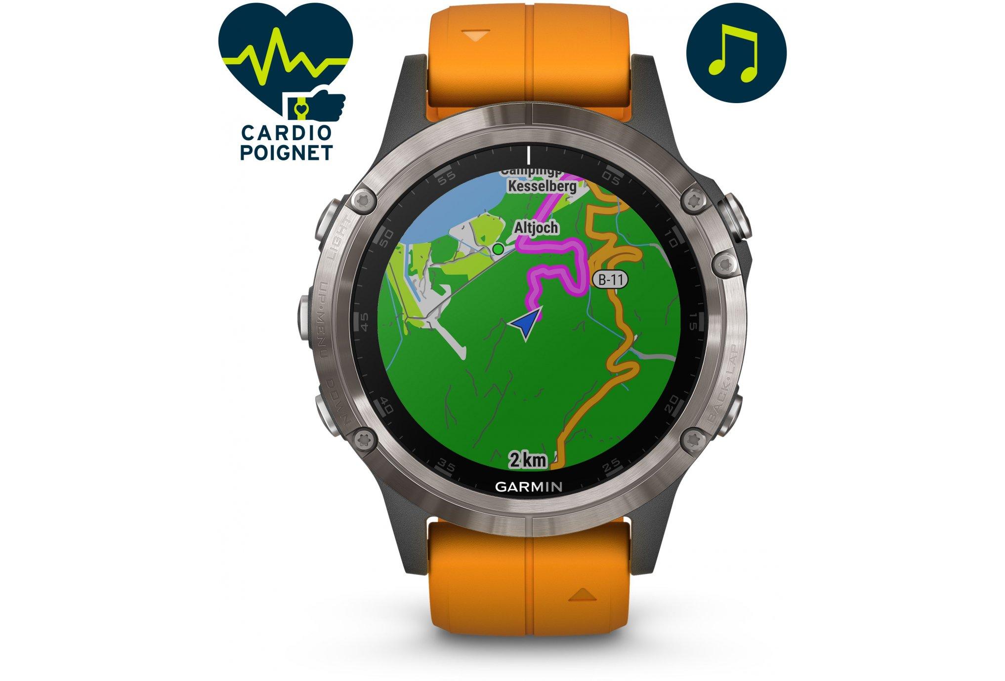 Garmin Fenix 5 Plus Silver Titanio Cardio-Gps