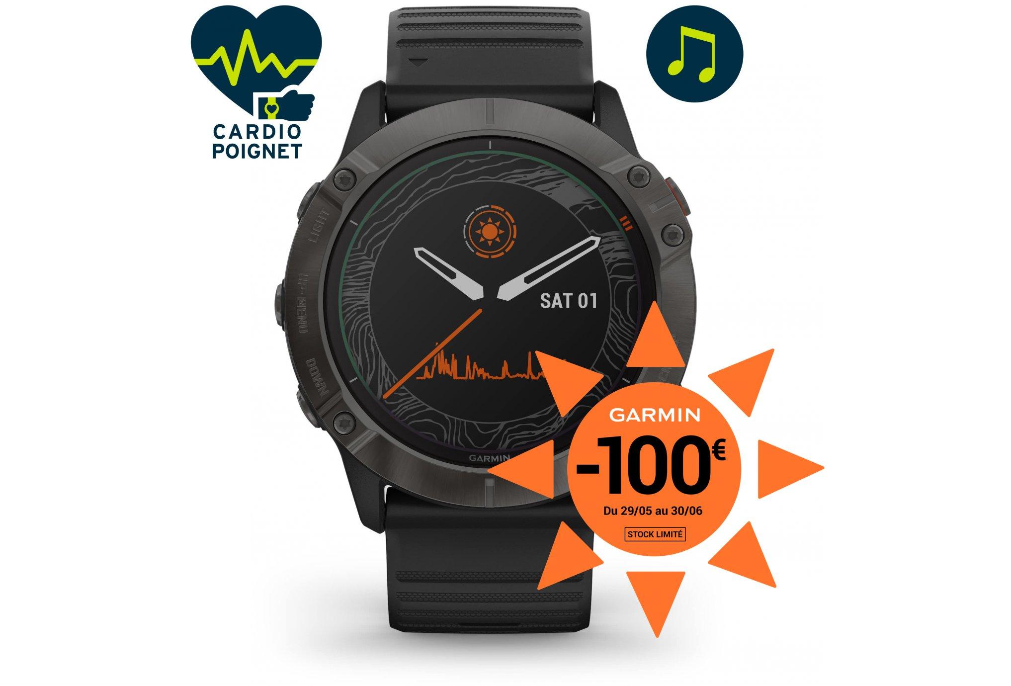 Garmin Fenix 6X Pro Solar Titane Cardio-Gps