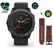 Garmin Fenix 6X Pro Solar Titane et bracelet cuir QuickFit 26 mm offert