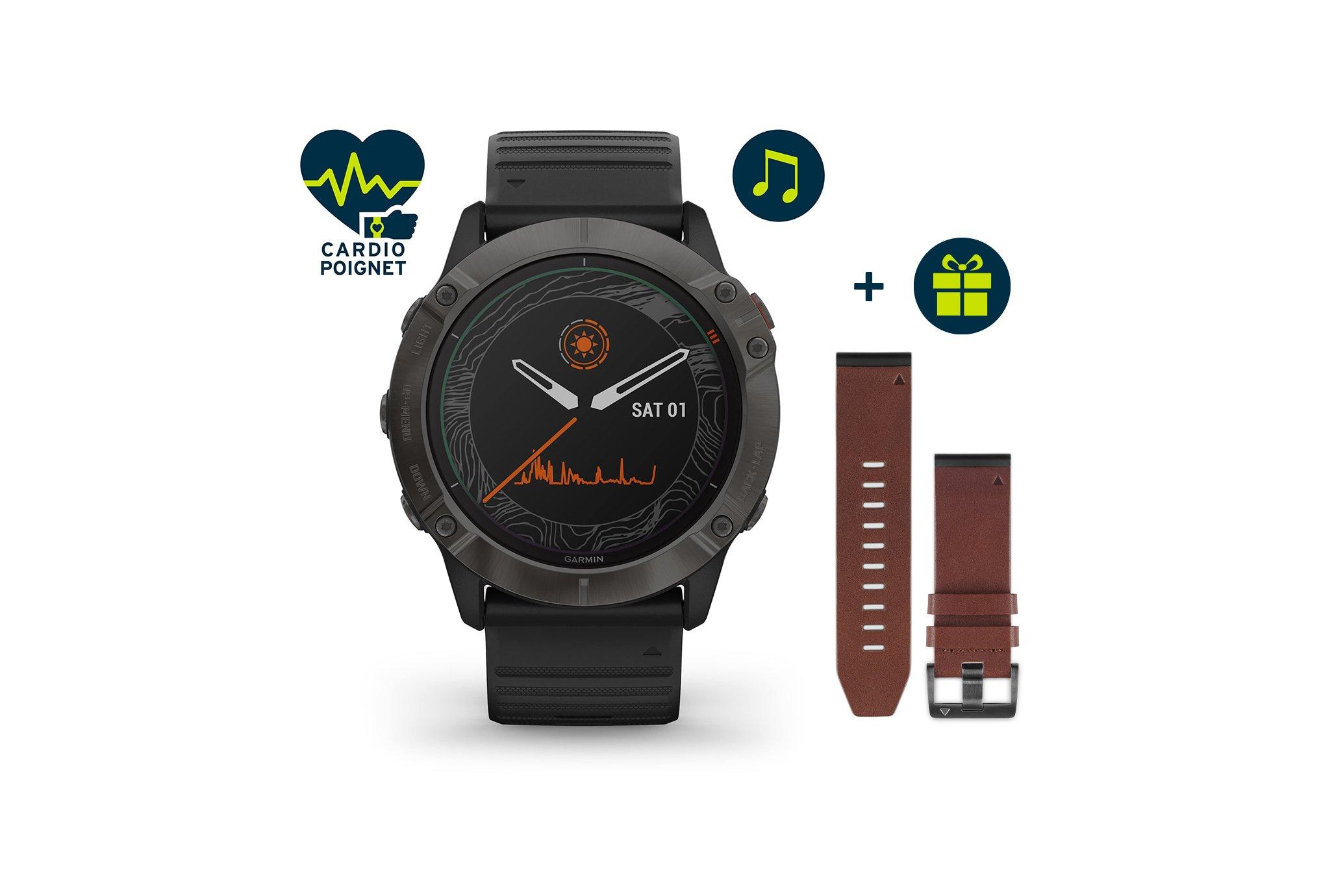 Garmin Fenix 6X Pro Solar Titane et bracelet cuir QuickFit 26 mm offert Cardio-Gps