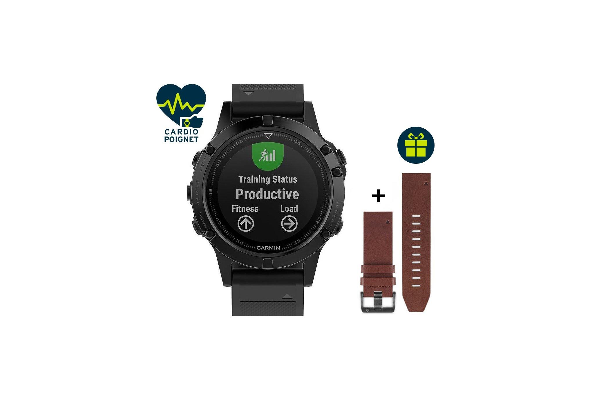 Garmin Fenix 5 GPS Multisports Sapphire Performer HRM-Tri+ Correa de cuero de regalo Cardio-Gps