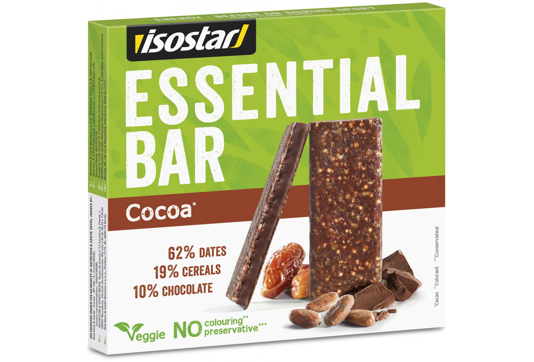 Isostar Pack barritas Essential Bar - Cacao Diététique Barres