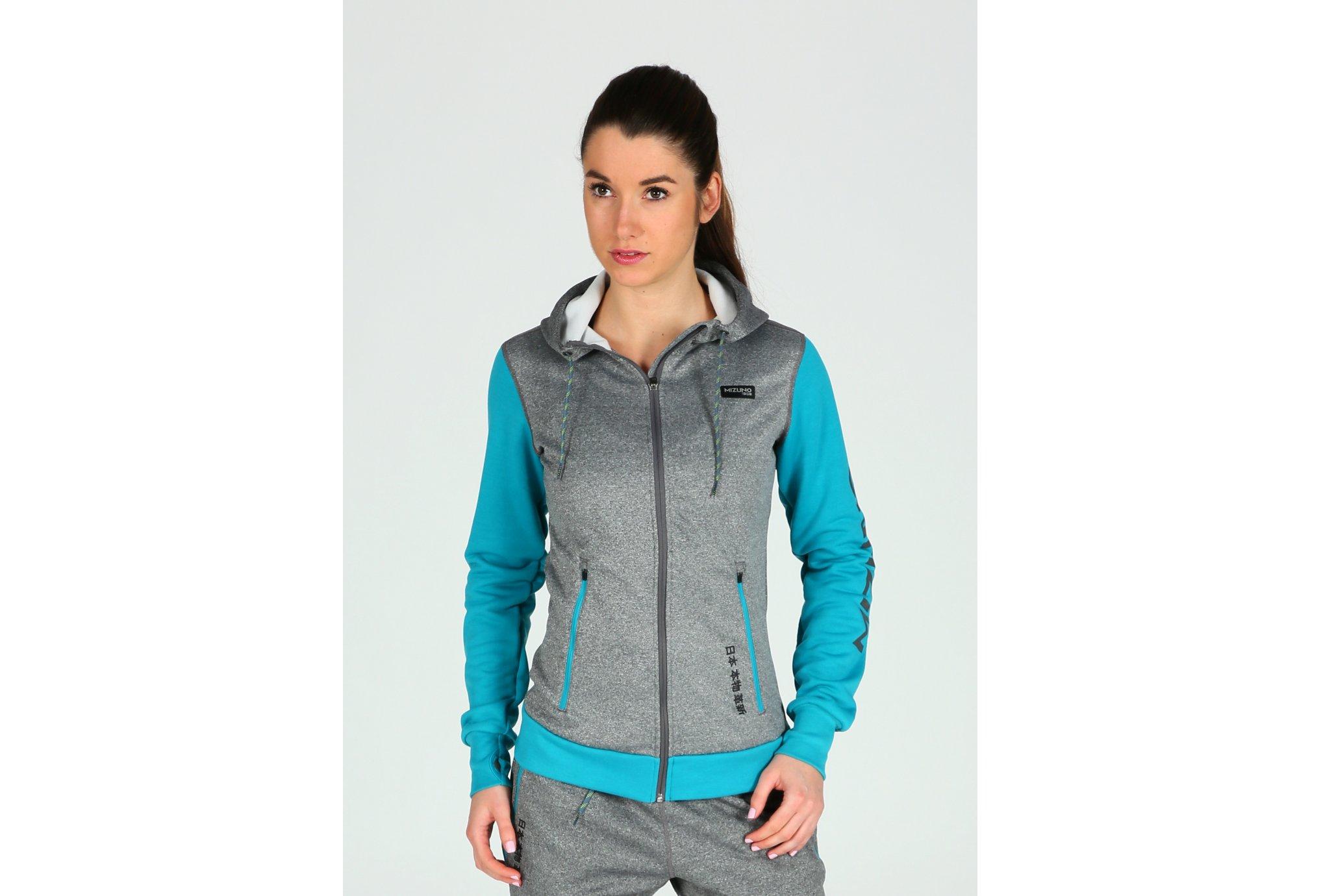 Mizuno heritage zip hoodie w vêtement running femme