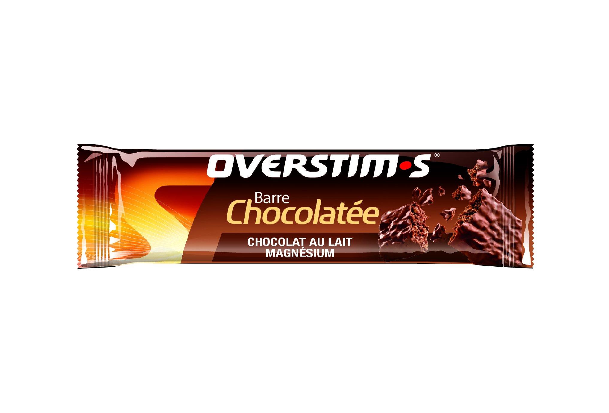 OVERSTIMS Barre Chocolatée Magnésium - Chocolat au lait Diététique Barres