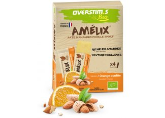 OVERSTIMS Paquete de 4 barritas almendras Amelix Bio - naranja confitada