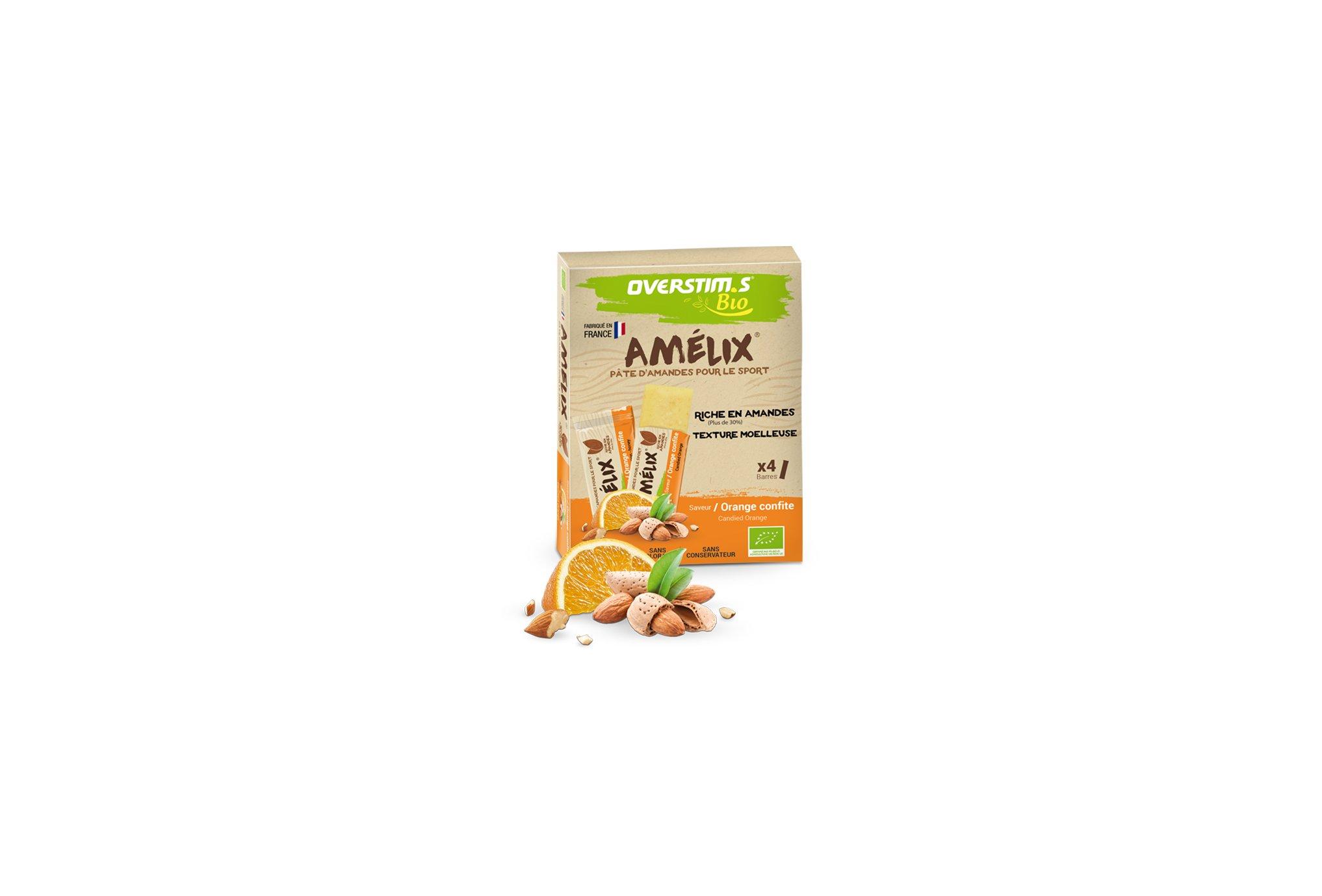 OVERSTIMS Étui 4 pâtes d'amandes Amélix Bio - Orange confite Diététique Barres