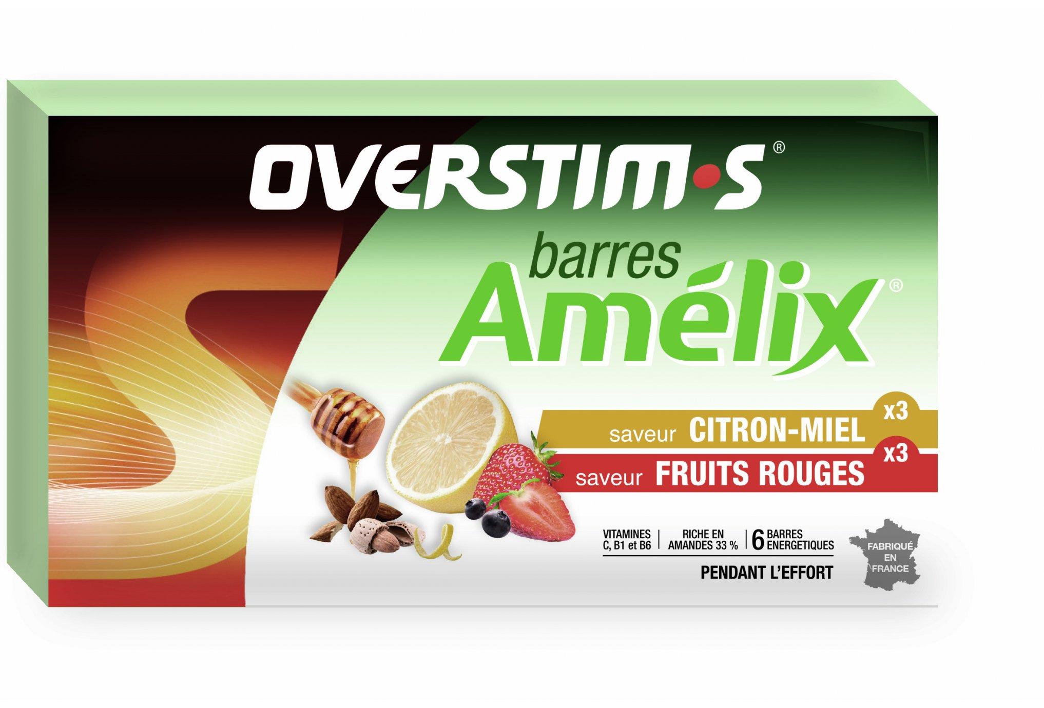 OVERSTIMS Étui 6 barres Amélix - Citron miel/fruits rouges Diététique Barres