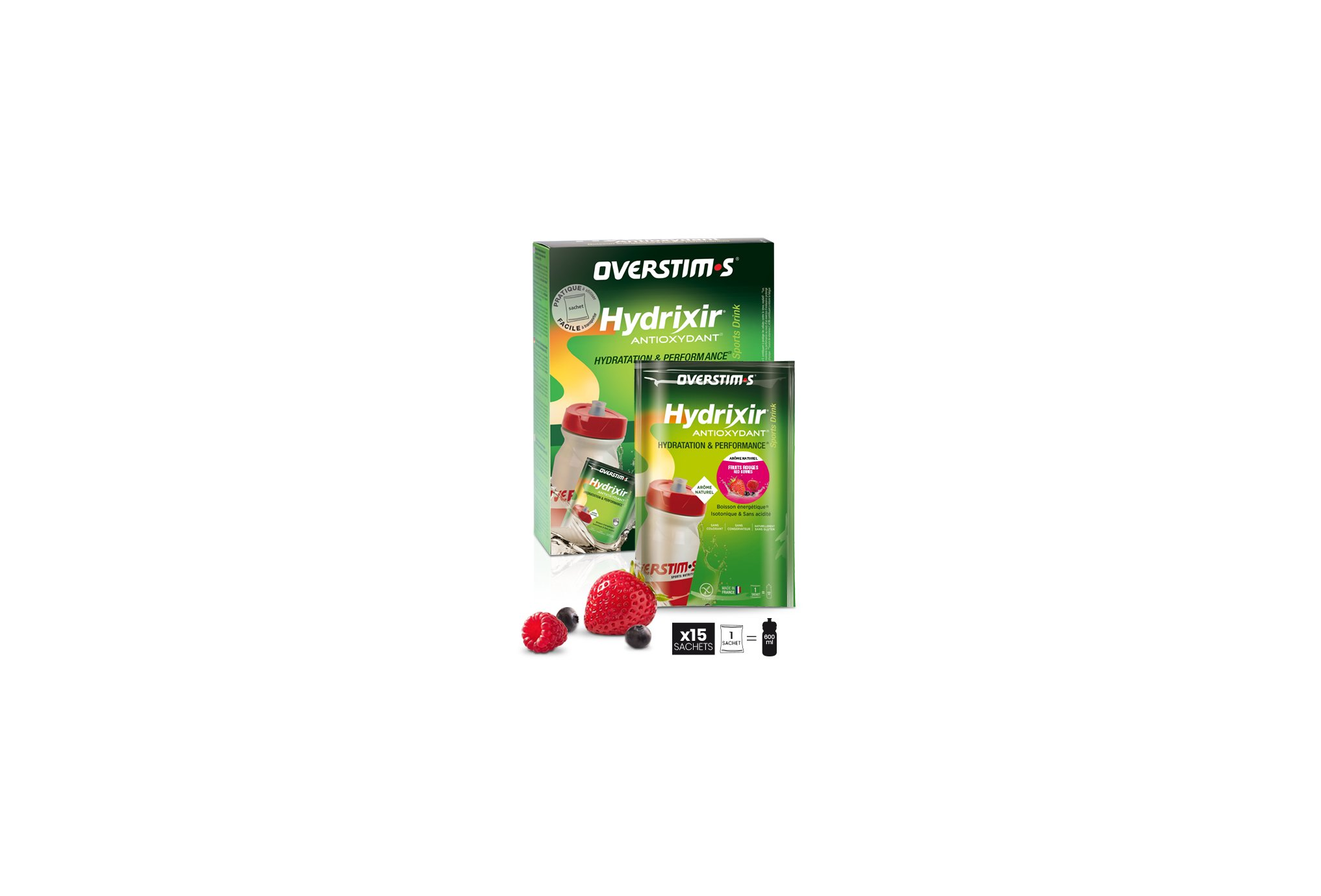 OVERSTIMS Hydrixir 15 sachets - Fruits rouges Diététique Boissons