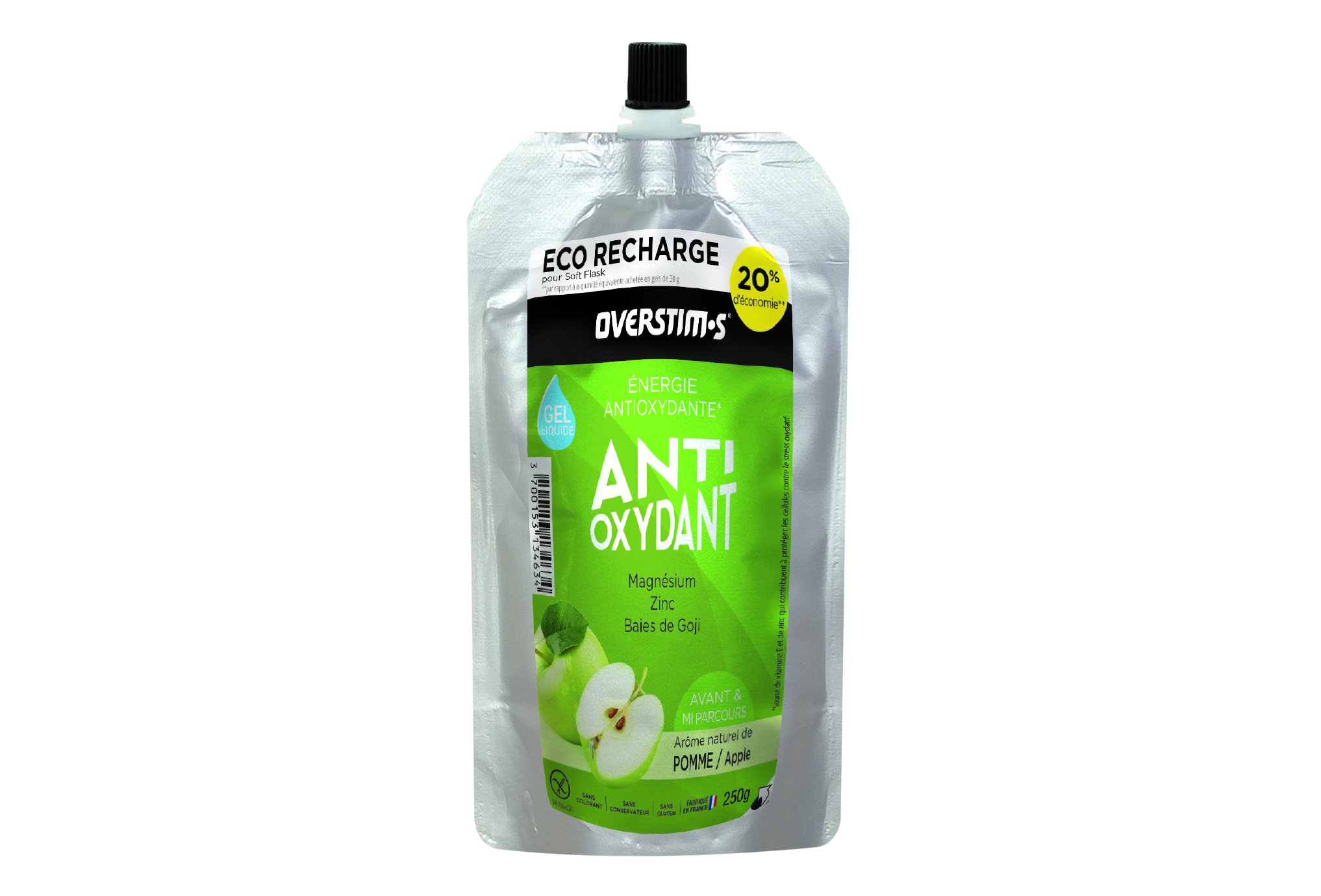 OVERSTIMS Recharge Eco Gel Endurance Antioxydant 250 g - Pomme Diététique Gels