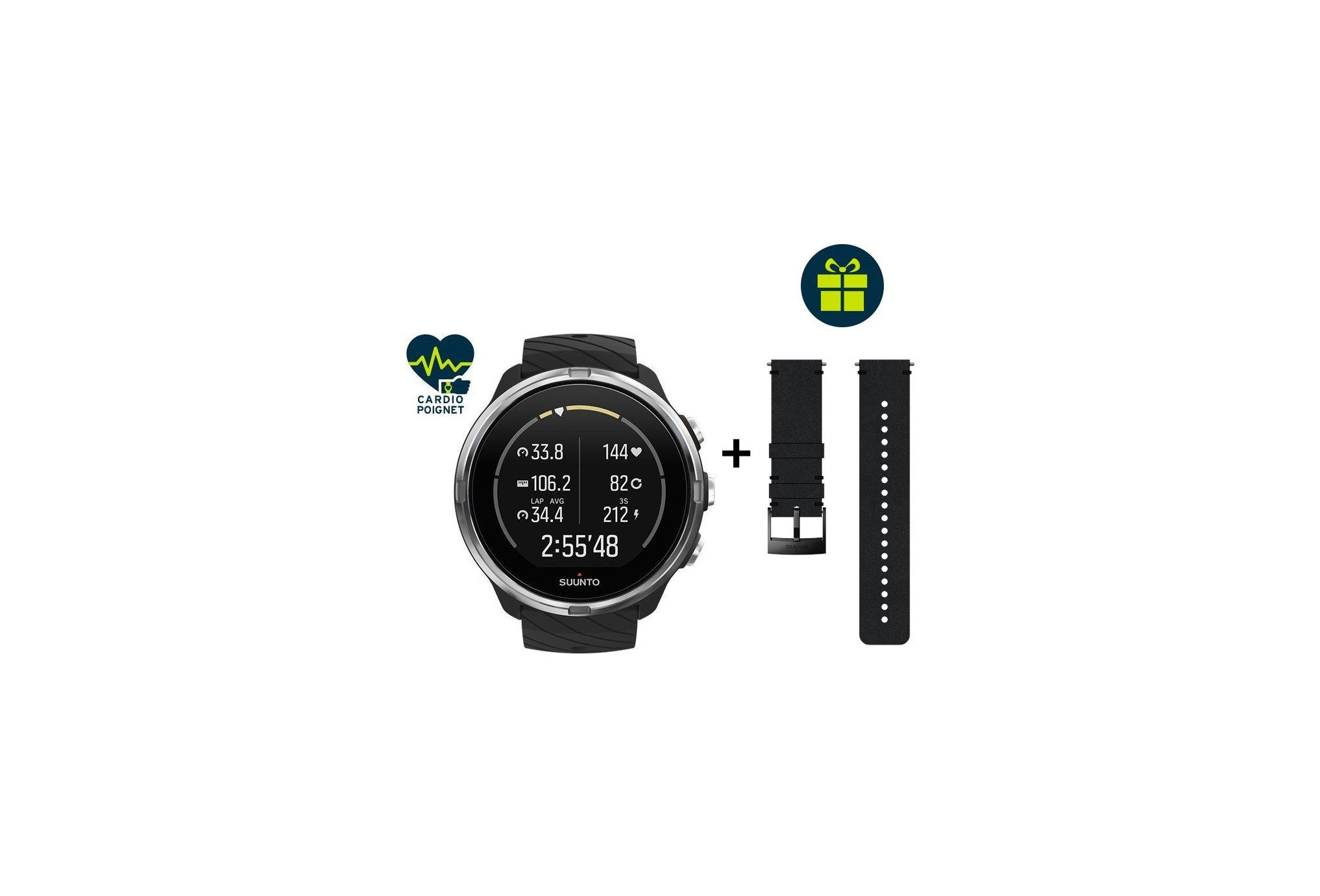 Suunto Pack reloj 9 Black + correa Urban 2 de cuero Cardio-Gps